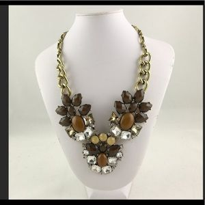 Brown Resin and Crystal Necklace